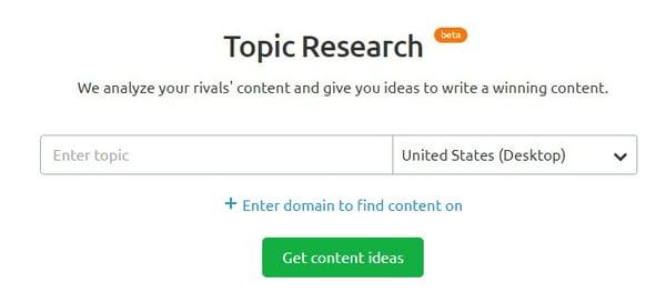 Topic Research tool SEMRush Topic Clusters