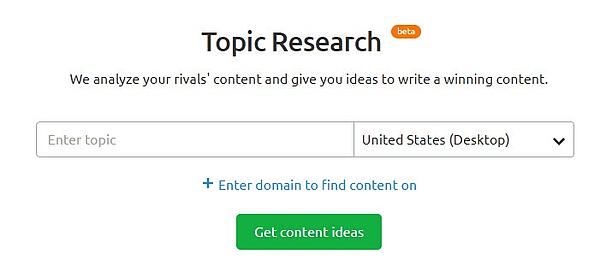 Topic Research tool SEMRush Topic Clusters